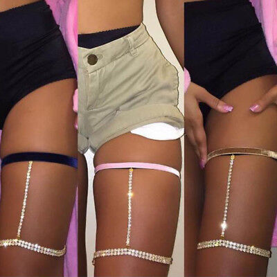 1 Pcs Thigh Chains Woman Leg Chain Harness Crystal Velvet Shinning Jewelry Sexy