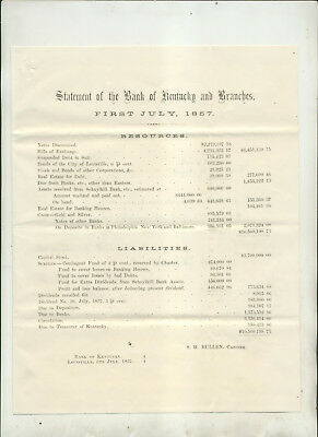 July 1 1857 Statement Of The Bank Of Kentucky & Branches Louisville