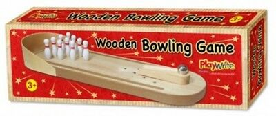 Wooden Ten Pin Bowling Alley Game Indoor Mini Desktop Kids Adults Executive Toy