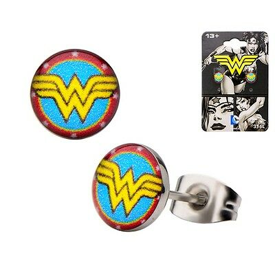 Official Wonder Woman Logo Classic Round Stud Earrings - Red Blue Gold DC Comics