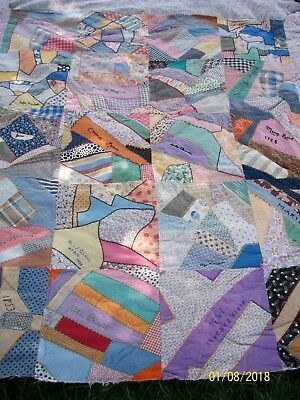 Antique Early 1900's Hand Stitched Friendship Crazy Quilt Top SIGNED w/ DATES