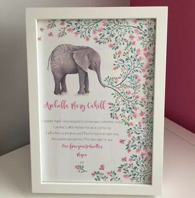 Personalised godparent christening gift Goddaughter Elephant Print Nursery Art