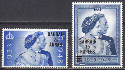 Bahrain 1948 Kgvi Gb Overprinted Silver Wedding Issue Scott #62-63 Mnh