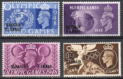 Bahrain 1948 Kgvi Gb Overprinted Olympic Issue Scott #64-67 Mnh