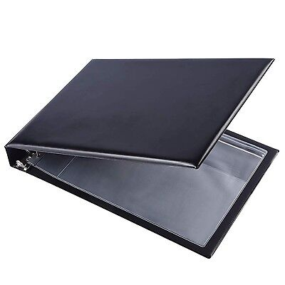 7 Ring Business Check Book Binder 3-on-a-page Zippered Leather Book Vinyl Black