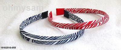 "2 New Multi Color Satin Cover Hard Headband 1/2 "" /2 Strand Zebra Animal Print D"