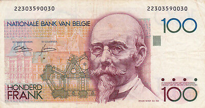 100 Francs Vf Banknote From  Belgium 1986!pick-92
