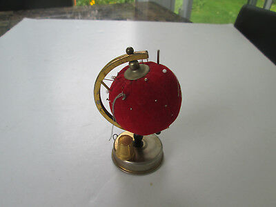 Antique Vintage Original World Globe Pin Cushion Sewing Tool w Tape Measure  276