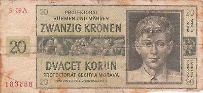 20 Korun Vg Banknote From Bohemia-Moravia 1944!nazi Occupation Issue!pick-9