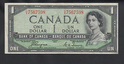 1954 Canada 1 Dollar Bank Note Devil Face Coyne / Towers