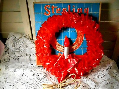 Vintage Sterling Red Vinyl Christmas Wreath with Candle and Original Box-Works!