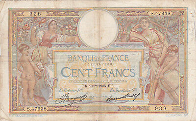 100 Francs Vg-Fine  Banknote From  France 1935!pick-78
