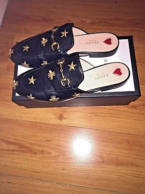 15f150f59a323 Women's Gucci Princetown Embroidered Leather Slippers Flat Size 41 Mules