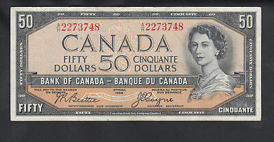1954 Canada 50 Dollars Devil Face Bank Note Beattie / Coyne
