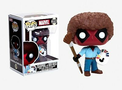 Funko Pop Marvel: Deadpool as Bob Ross Vinyl Bobble-Head Item #30865