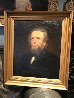 Antique 19th Century Oil Portrait Painting Of A Man With Beard Victorian