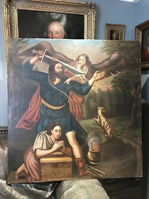 Massive Antique Oil Portrait Painting 17th Century Abraham and Isaac