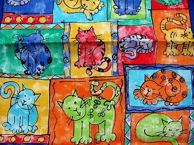100% Pure Irish Linen *happy Cats By Ulster Weavers* Towel Made In Ireland New