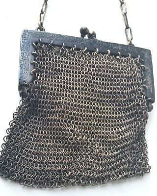 Vintage, 1920's-30's  Silver, Chain Link Small Bag