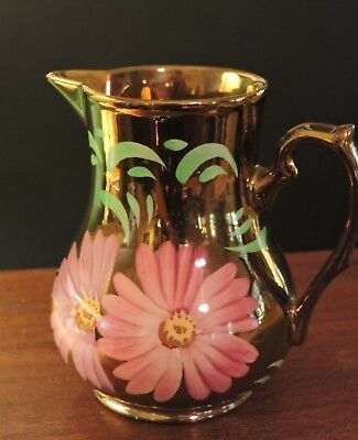 WADE Vintage Atq English Floral Hand-Painted Copper Iridescent Milk Pitcher Jug
