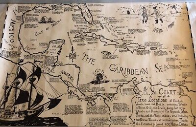 Rare Vintage Caribbean Pirate Folk Art Sunken Ship Treasure Map Dale M Titler