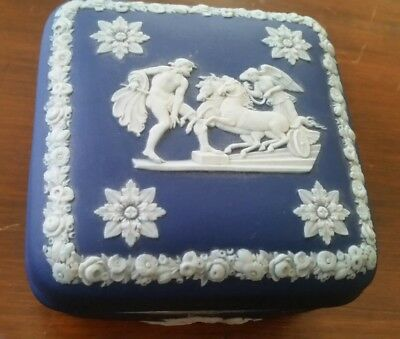 "Vintage Wedgwood Royal Cobalt Dark Blue Jasperware 4"" Square Trinket Box"