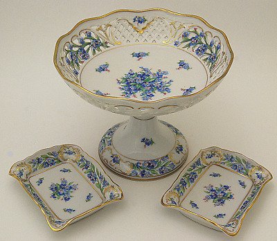 Fine 3 Pc Schumann Bavaria Compote & Dishes