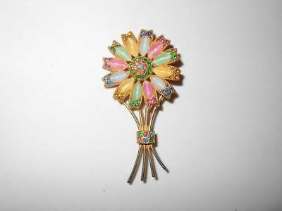 Vintage Art Deco Pastel Czech Satin Glass & Rhinestone Floral Flower Brooch Pin