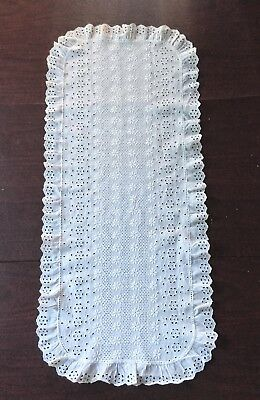 White Embroidery Eyelet Lace Table Runner Doily Dresser Scarf 32X14 - Free Ship