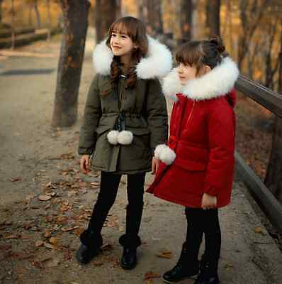Girls' Kids Warm Parka Faux Fur Collar Winter Hooded Thicken Coat Belt Furry New