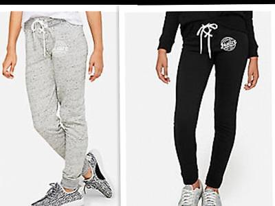 NWT Justice Girls Lace Up Logo Joggers Black Gray Size 7 8 10 12 14