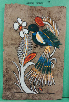 VINTAGE AMATE BARK PAPER PAINTING 5.50 x 3.75 INC COLOR on BROWN FROM MEXICO #32
