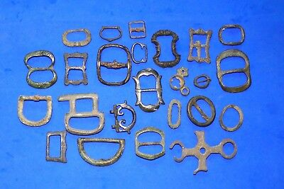 Lot of Bronze Buckles and Other Artefacts, Ancient to Post Medieval x24