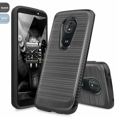 For Motorola Moto G6 Play/Forge Brushed Armor Rubber Case+Black Tempered Glass
