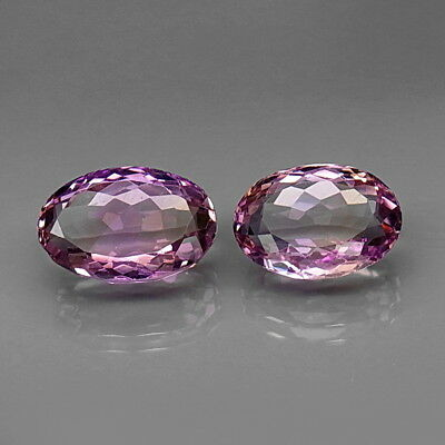 Oval 14x10-15x10mm.Real 100%Natural Purple&Golden Bolivia Ametrine 2Pcs/14.17Ct.