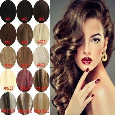 100% Remy Real Human Hair One Piece Hair Extensions Full Head 5 clips 16inch