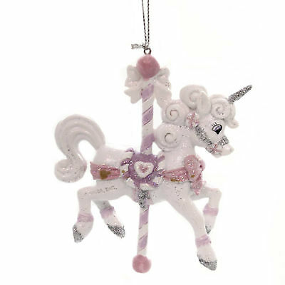 Holiday Ornaments SUGAR PLUM CAROUSEL HORSE Polyresin Unicorn C7905 Pink