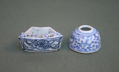 Two Antique Chinese Blue White Porcelain Brush Washer -  French Flea Market Find