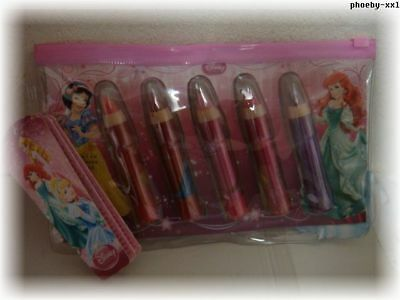DISNEY PRINCESS 5 x Lippenstifte Lip Stick in versch. Farben + Tasche* Girl OVP