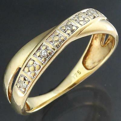 On a tight Budget? Solid 9k Yellow GOLD 5 DIAMOND ILLUSION ETERNITY RING Sz L
