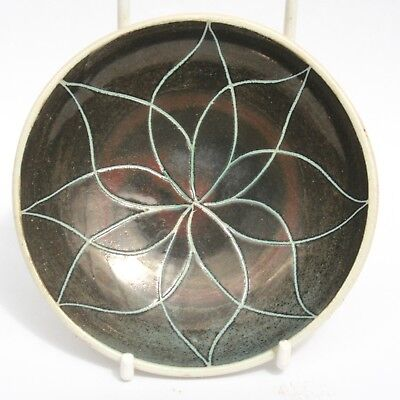 Vintage Briglin Studio Pottery Pin Dish Incised Flower Design