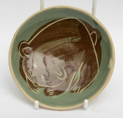 Vintage Briglin Studio Pottery Pin Dish Incised Bear Design