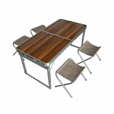 Camping Set Pliable Aluminium Design en Bois Taupe 1 Table 4 Chaises