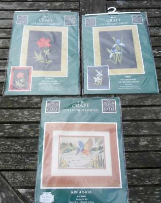 Lot of 3 Craft Collection embroidery kits Poppy, Iris (Cushions)  + Kingfisher