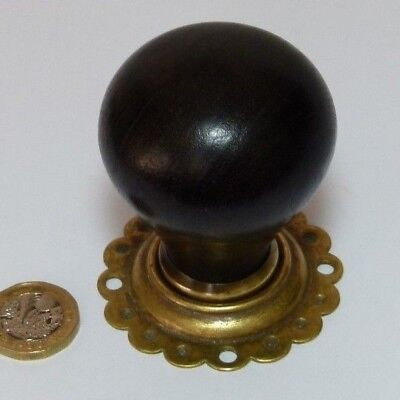 Antique Ebony & Brass Wooden Antique/vintage Door Knob Handle