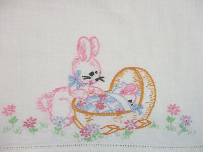 Vintage Hand Embroidered Baby Child Crib Sheet Mother Rabbit & Baby Bunny EXVC