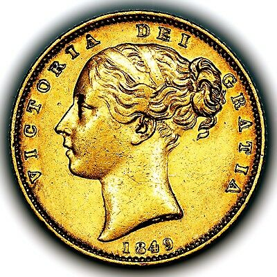 1849 Queen Victoria Great Britain London Mint Gold Sovereign Coin