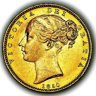 1850 Queen Victoria Great Britain London Mint Gold Sovereign Coin