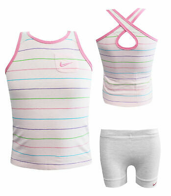 Nike 2 Piece Infant Baby Vest Shorts Set Kit Girls Pink 412803-616 RW52
