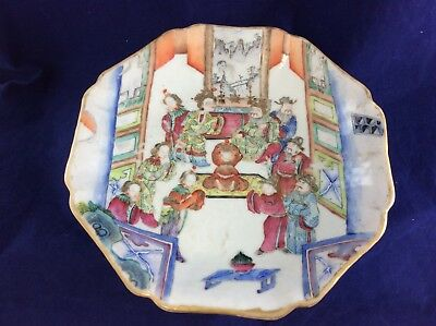 Antique Chinese Canton Famille Rose Small Pedastal Bowl 19th Century